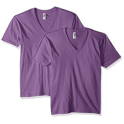 Marky G Apparel Men's Fine Jersey Short Sleeve V-Neck T-Shirt (2 Packs), Purple, 2XL | .com