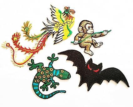 amazon com hho 4 piece cute animal cartoon patch dragon monkey