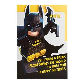 Hallmark lego batman birthday card age stickers medium amazon hallmark lego batman birthday card quotage stickersquot medium bookmarktalkfo Choice Image
