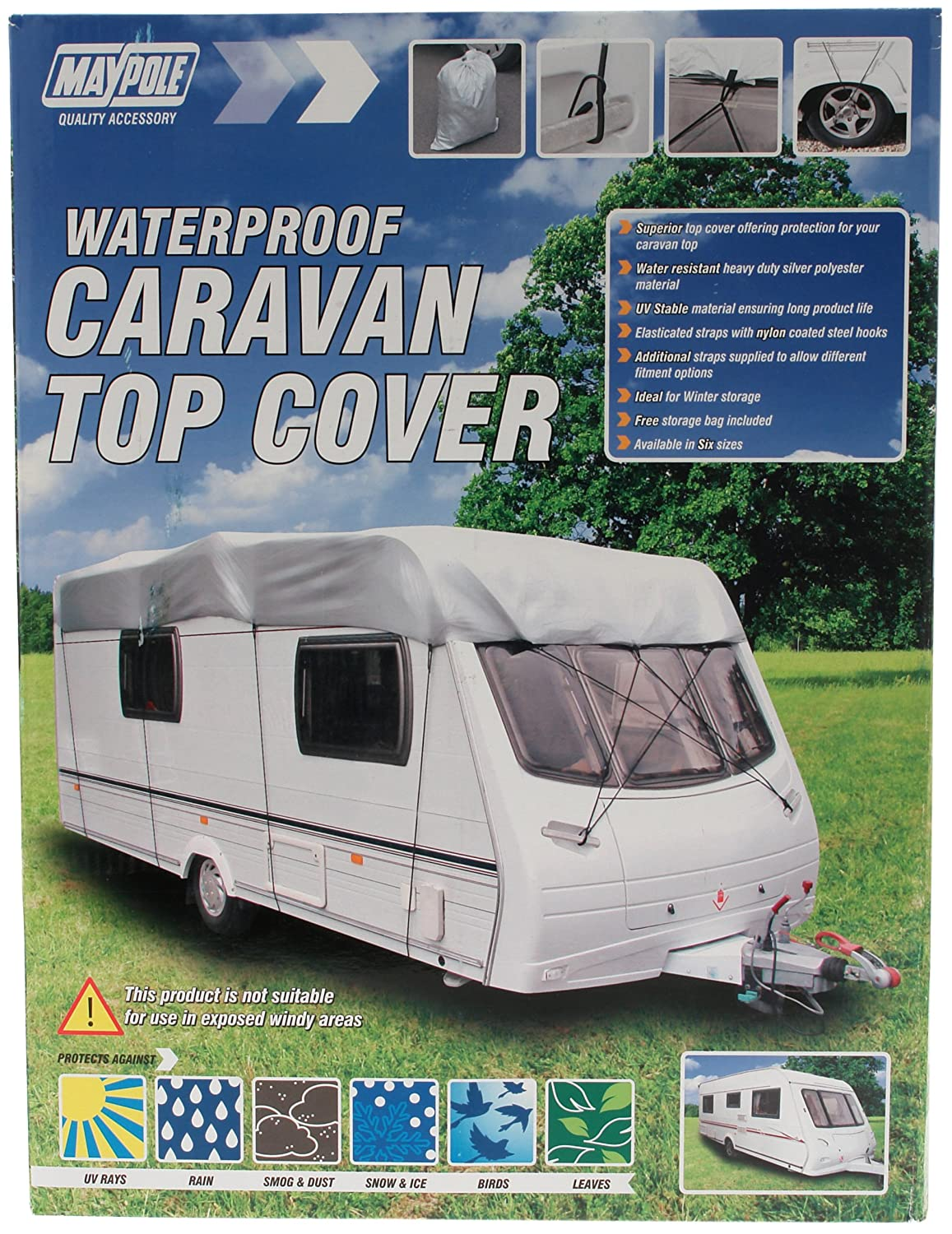 Maypole 9263 DP Caravan Top Cover, 5.0 - 5.6 m - Grey/white Maypole Limited