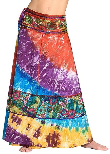 Falda Cruzada teñida al Batik - Falda Unisex de la India abc5f1b34328