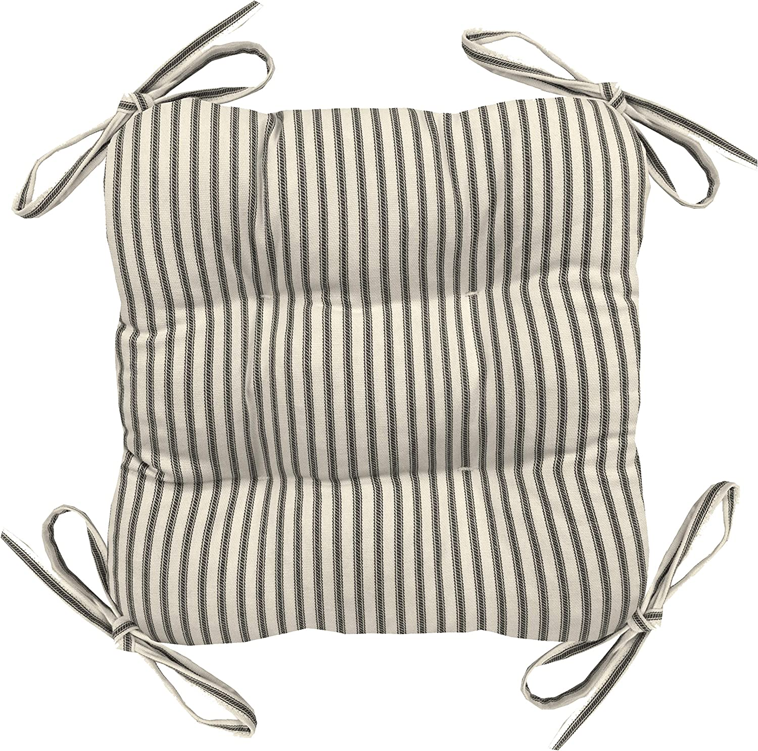Barnett Home Decor Ticking Stripe Natural Square Bar Stool Cushion with Ties Latex Foam for 12 Metal Industrial Barstools // 12 Tolix-Style Counter-Height Chairs Machine Washable