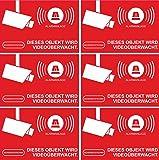Aufkleber Alarmgesichert - Alarmanlage 100 Stück 52x35mm - Rechteckig - rot - Sparset z.B. für Hausverwaltung
