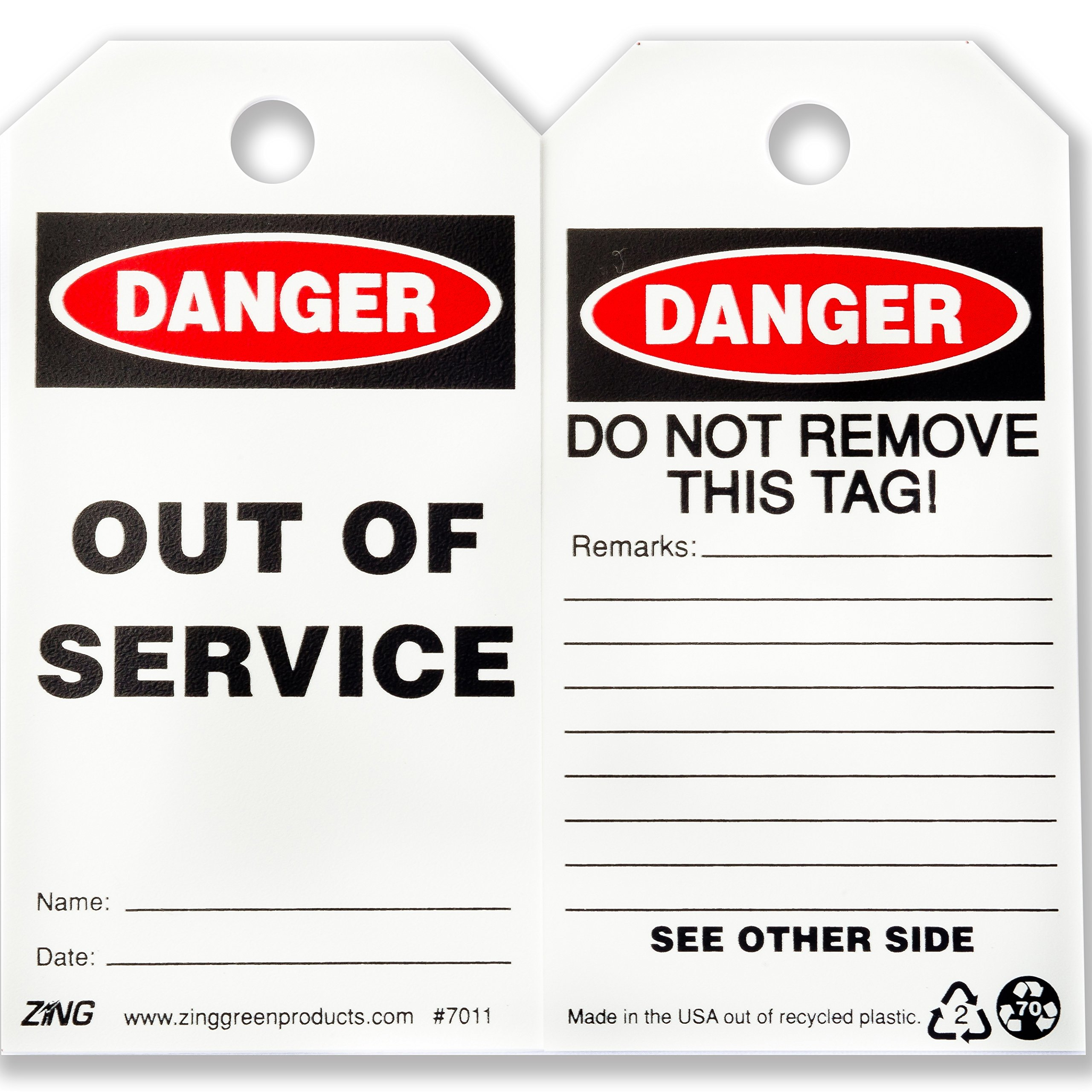 ZING 7011 Eco Safety Tag, DANGER Out of Service, 5.75Hx3W, 10 Pack