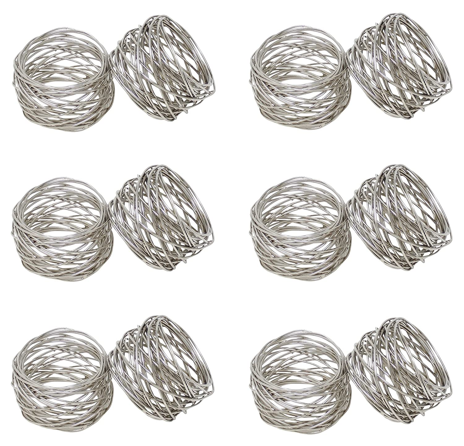 SKAVIJ Round Mesh Napkin Rings Set of 12 Silver for Wedding Banquet Dinner Decor Favor M-SNR-001-s12
