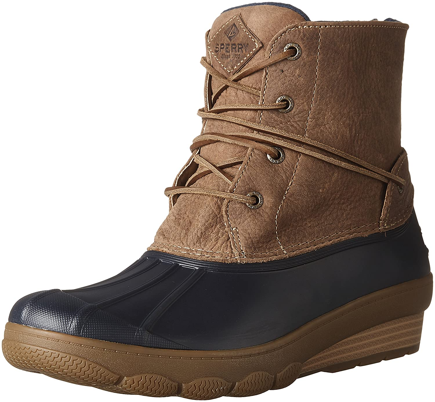 Sperry Top-Sider Women's Saltwater Wedge Tide Rain Boot B01MR70J0S 12 B(M) US|Navy/Tan