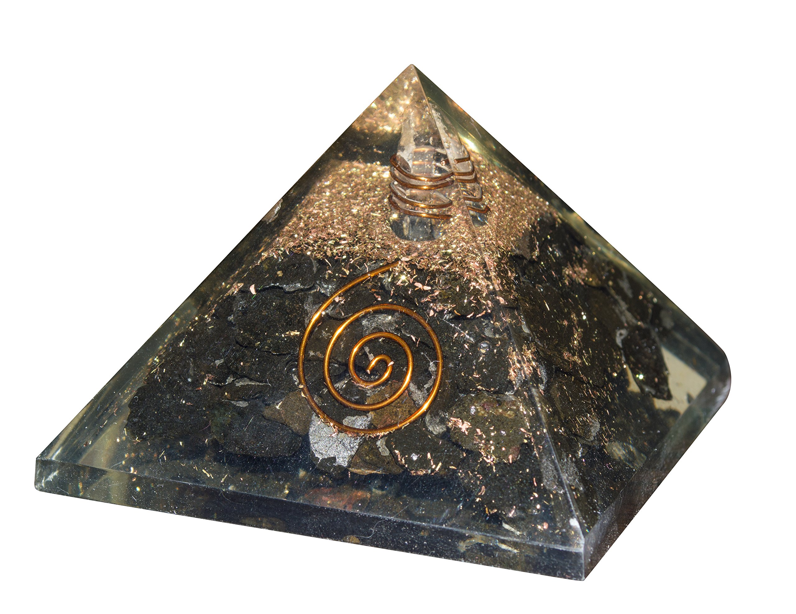 Crocon Black Tourmaline Reiki Healing Orgone Pyramid With Crystal Point Energy Generator For Chakra Balancing Aura Cleansing & EMF Protection Size: 2.5-3 Inch