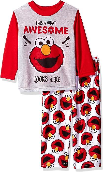 42a948612 Amazon.com: Sesame Street Boys' Toddler Elmo 2-Piece Pajama Set ...