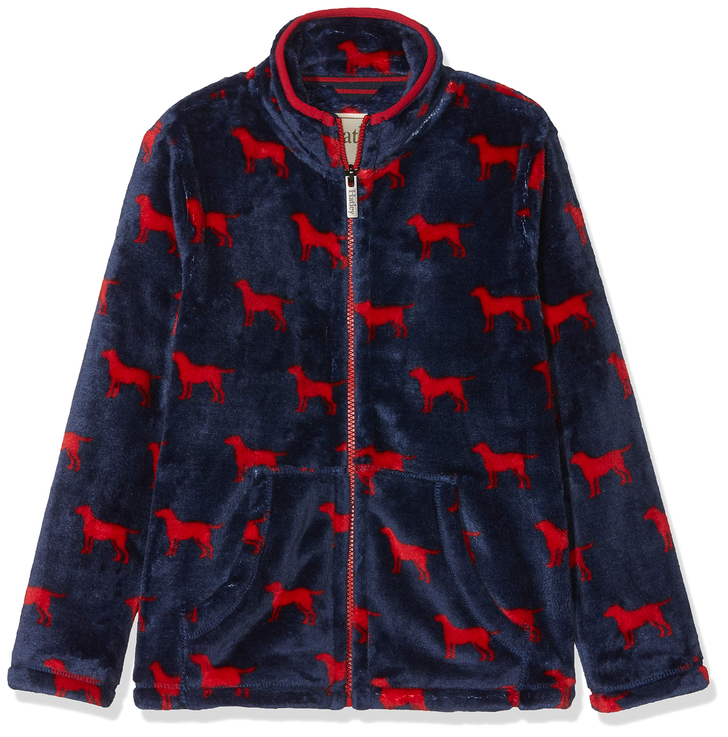 Hatley Boys' Little Fuzzy Fleece Full Zip Jackets, red Labs, 6 Years