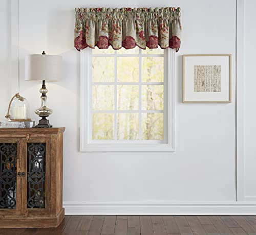 Waverly Kitchen Valances for Windows – Fresco Flourish 60 x 16 Short Curtain Valance Small Window Curtains Bathroom, Living Room and Kitchens, Jewel