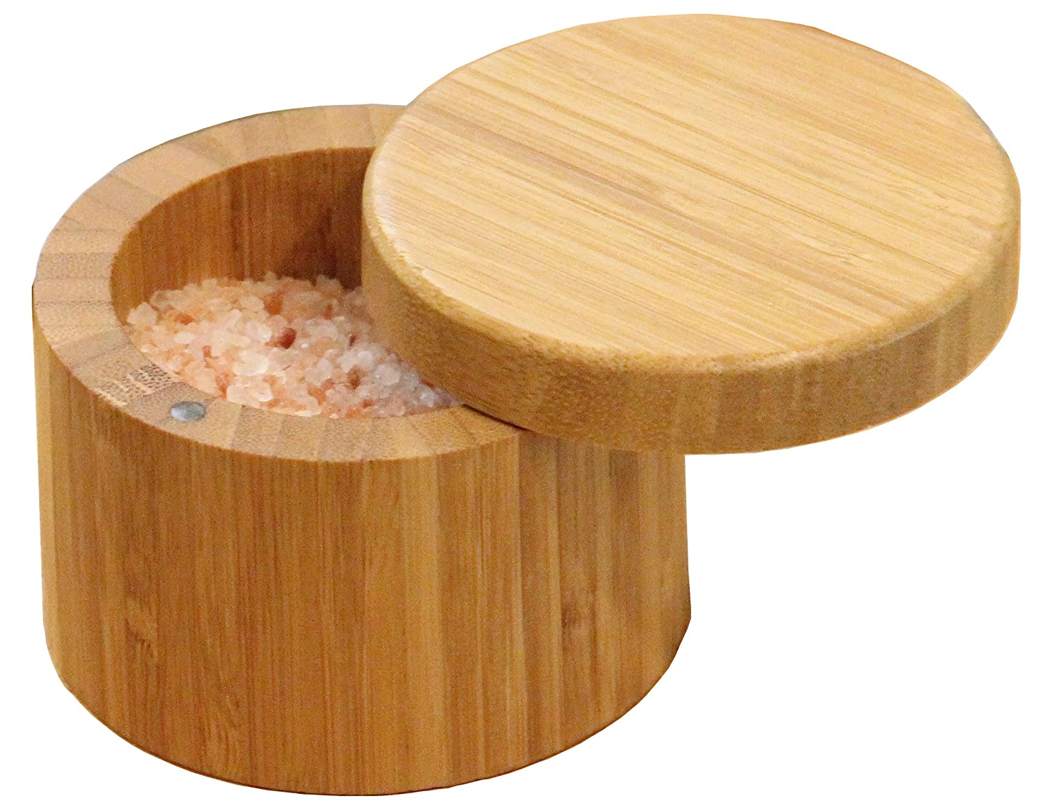 Round Bamboo Salt Box Eco-Friendly, 100% Organic bamboo, Professional-Grade,The best salt storage container on the market.