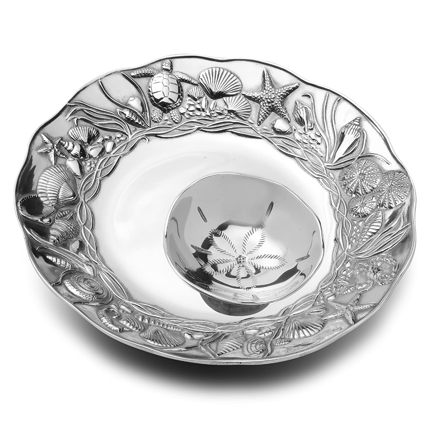 Coastal Christmas Tablescape Décor - Coastal 2-piece chip and dip serving set by Designer Wilton Armetale