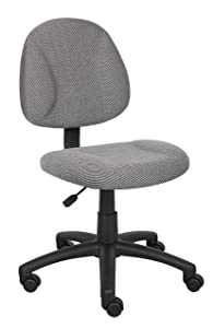 Boss Office Products B315-GY Perfect Posture Delux Fabric Task Chair without Arms in Grey