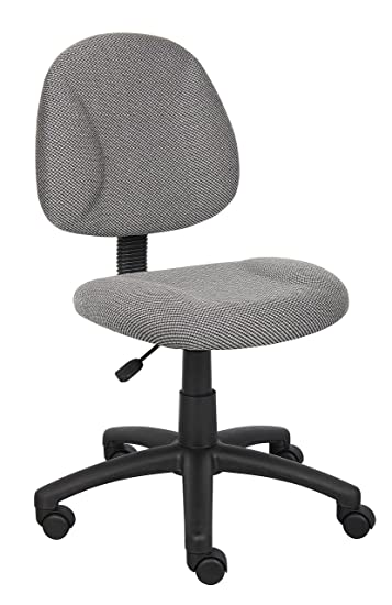 Boss Office Products B315 GY Perfect Posture Delux Fabric Task Chair  without Arms in GreyAmazon com  Boss Office Products B315 GY Perfect Posture Delux  . Grey Fabric Office Chair. Home Design Ideas