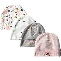Gerber Baby Girls' 4-Pack Caps, Bear, 0-6 Months