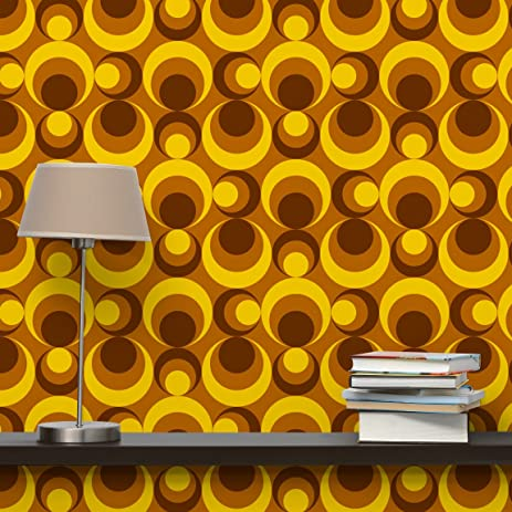 Non-woven Wallpaper Retro Wallpaper - 70s Circle Wallpaper yellow ...