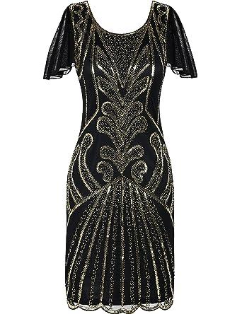 Kayamiya 1920er Jahre Flapper Kleider mit Ärmeln Pailletten Art Deco  Cocktail Gatsby Kleid 36-38