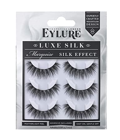 8a8f96aba65 Amazon.com : Eylure Luxe Silk Faux Mink Marquise, Multi Pack, Reusable,  Adhesive Included, 3 Pairs, 0.07 Ounce : Beauty
