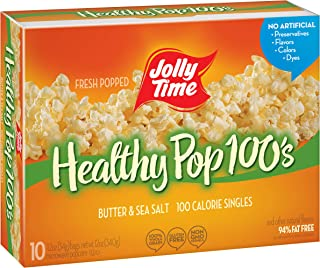 product image for JOLLY TIME Healthy Pop Butter Mini Bags | 100 Calorie Microwave Popcorn Single Serve Bags, Low Fat, Low Calorie Individual Snack Size (10-Count Box, Pack of 3)