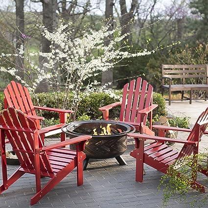 Merveilleux Amazon.com : Outdoor Fire Pit Chat Furniture Set Pleasant Bay Adirondack  Aspen Fire Place Chair Seats Collection : Garden U0026 Outdoor