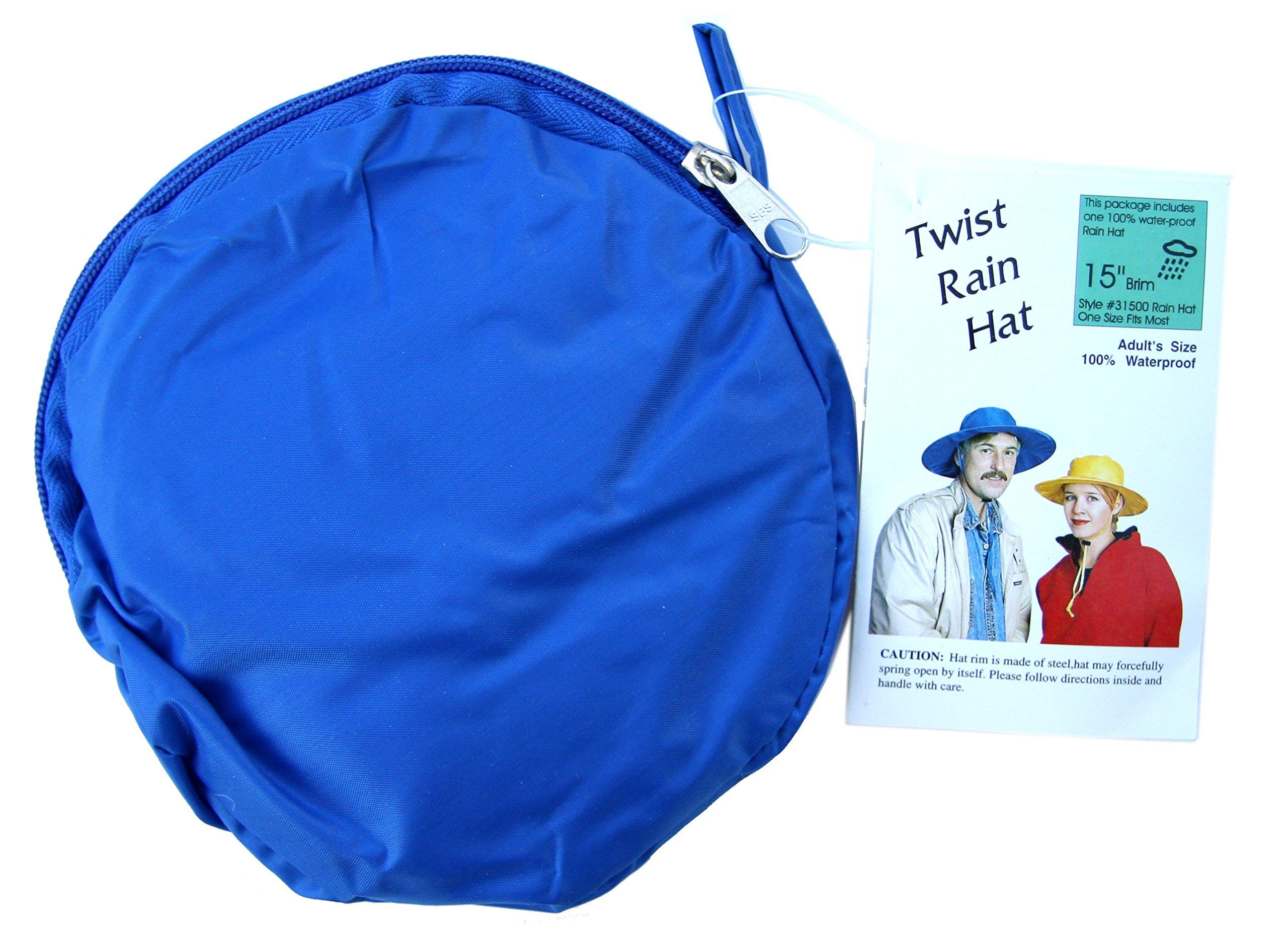 Twist-and-Fold Rain Hat, (Royal Blue)