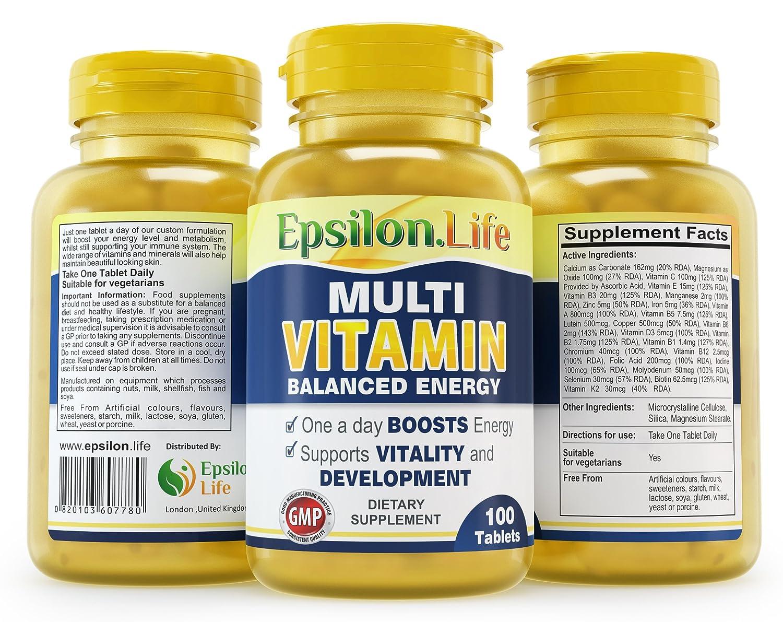 Epsilon Complejo Multivitaminas con Minerales - 100 Comprimidos - Fórmula Equilibrada Para Aumentar la Energía y la Vitalidad - Multivitamínico ...