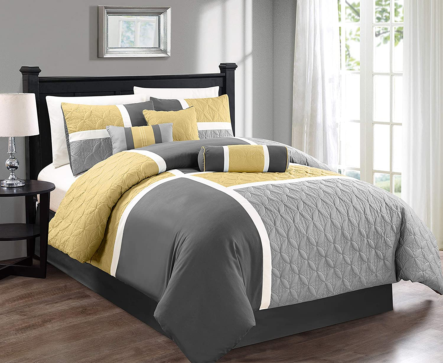 Chezmoi Collection 7-Piece Quilted Patchwork Comforter Set, Yellow/Gray, California King