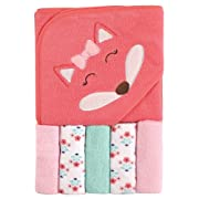 Luvable Friends Hooded Towel and 5 Washcloths, Girl Fox