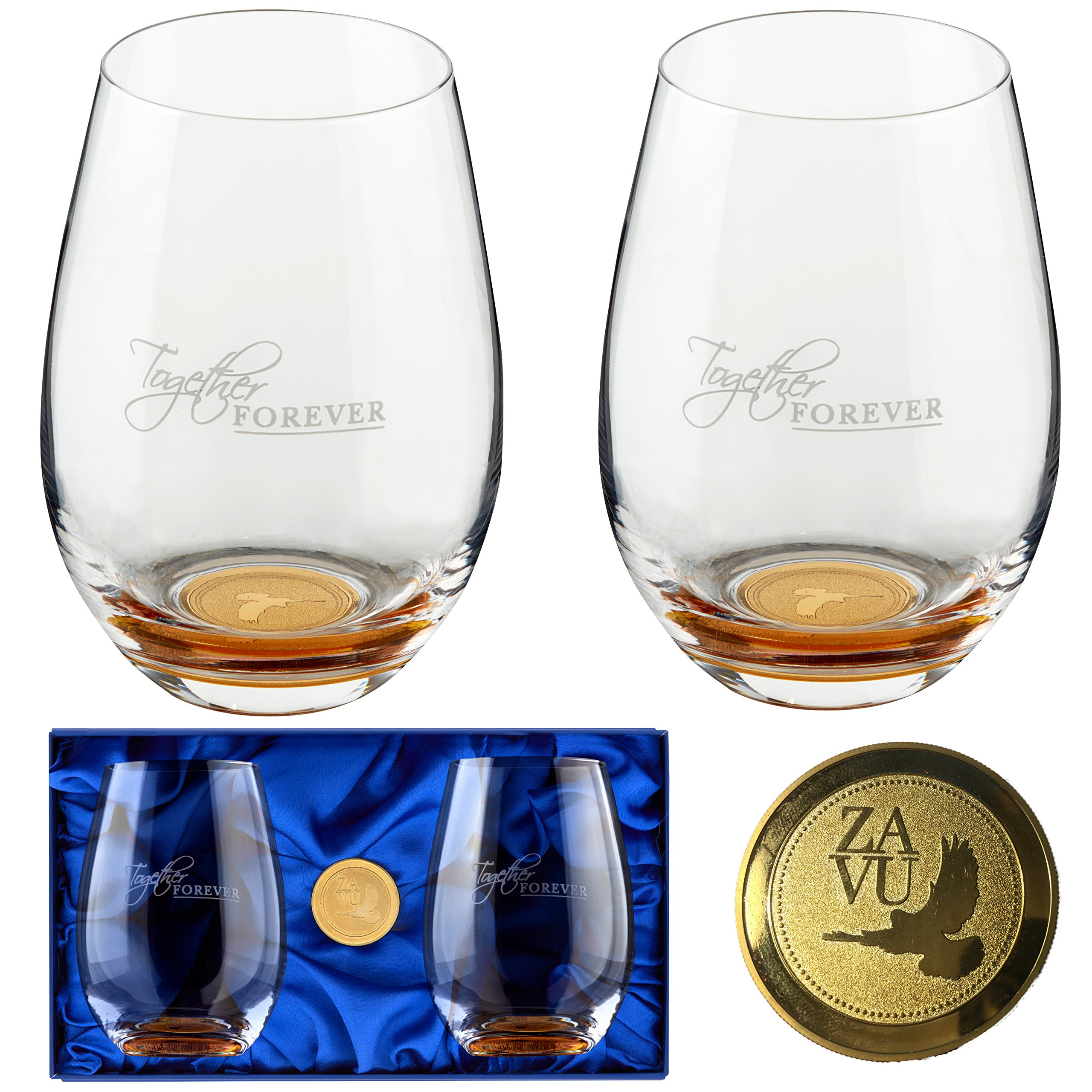 Anniversary Gift- Crystal Stemless Wine Glasses Set of 2. Precision Lead Free Hand Blown, Large 22oz, Embedded gold coin, Magnetic Gift Box, Anniversary Gift for Couple, Retirement Gift, Wedding