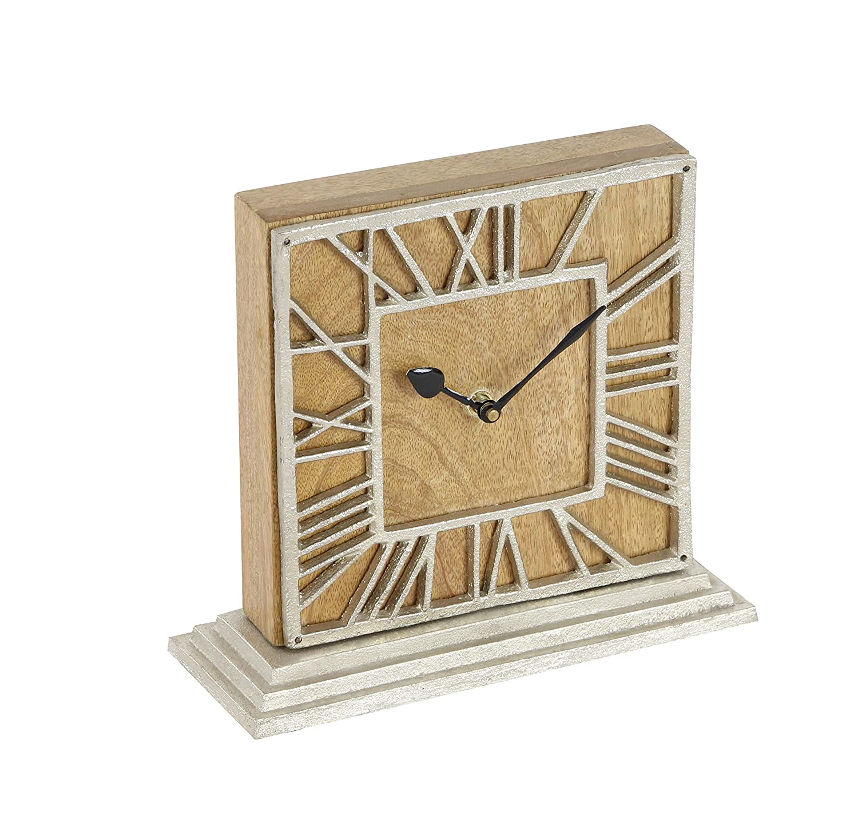 Deco 79 42191 Mango Wood and Aluminum Table Clock Brown/Silver/Black