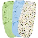 Summer Infant 3 Piece SwaddleMe Adjustable Infant Wrap, Forest Friends, Large