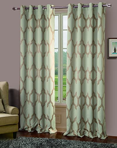 RT Designers Collection Bowery Jacquard Blackout Grommet Curtain Window Panel, 54 x 84 inches, Khaki, 2 Pack