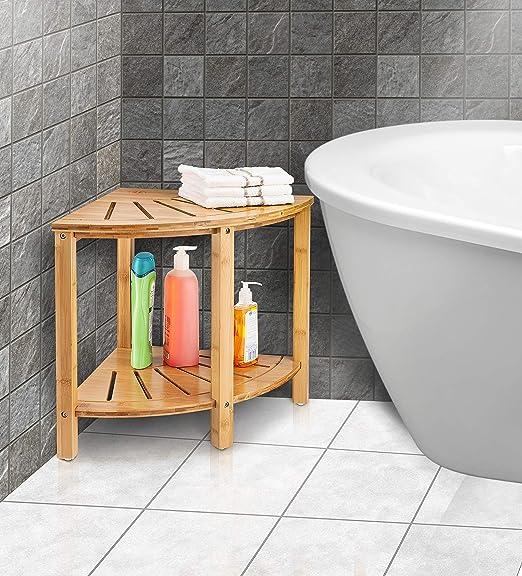 Amazon.com: Taburete de ducha de esquina de bambú con ...