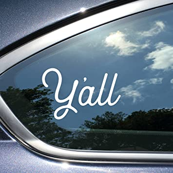 Yall texas sticker for car decal 4 x 2 5 inches white vinyl texas sticker