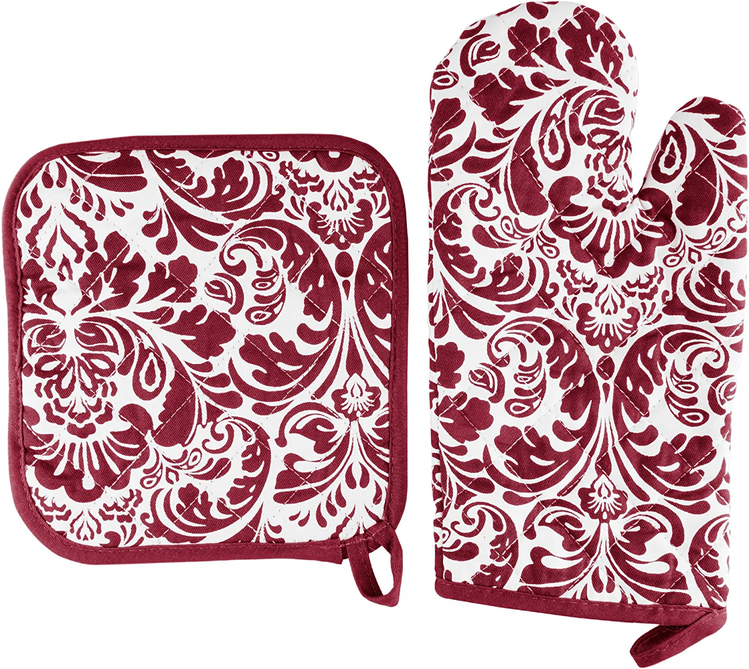 Oven Mitt And Pot Holder Set, Quilted And Flame And Heat Resistant By Lavish Home (Burgundy)