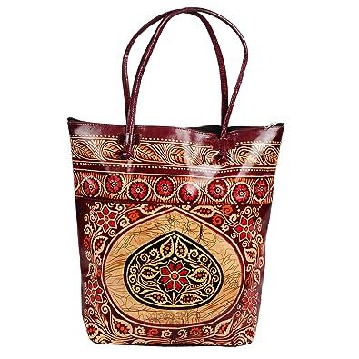 d7950dfccb Zint Women s Leather Shantiniketan Batik Designed Tote Bag  Handbags   Amazon.com