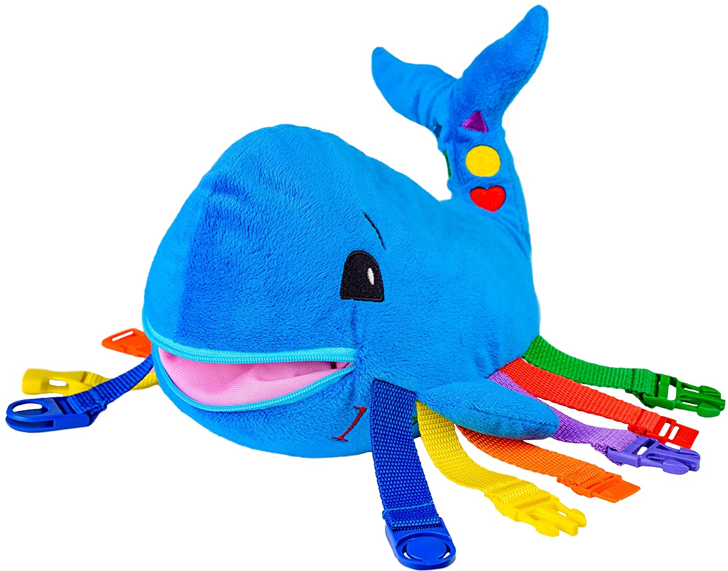 """BUCKLE TOY """"Blu"""" Whale - Toddler Early Learning Basic Life Skills Children's Plush Travel Activity Buckle Toy Inc"""
