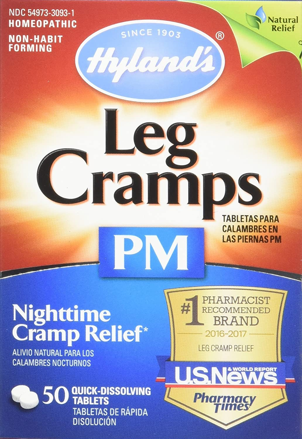 Amazon.com: Hyland's Night Time Leg Cramps PM Tablets, Natural ...