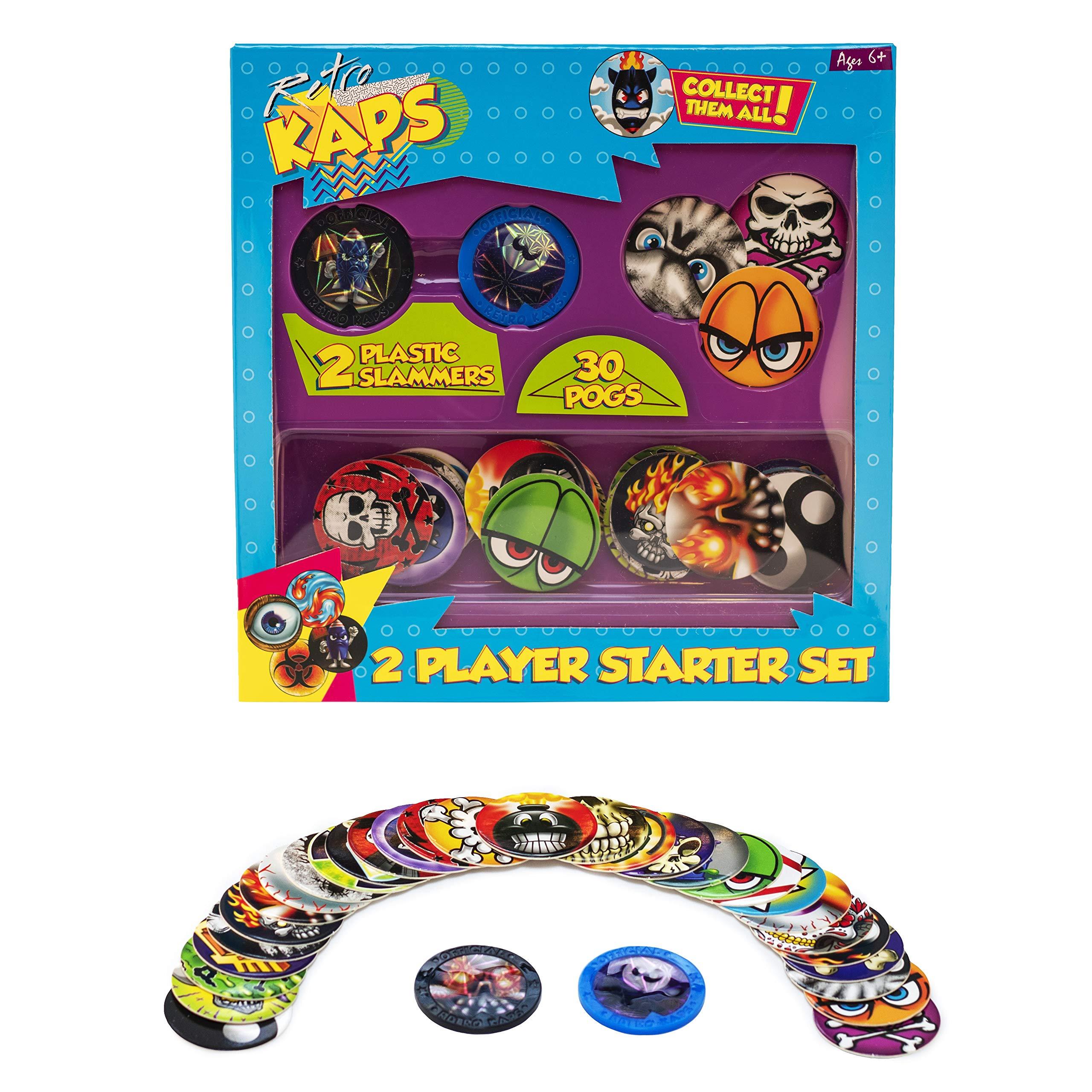 Pog Retro Kaps 2-Player Starter Set Game Includes: 30 Pogs & 2 Slammers by Pog Retro Kaps