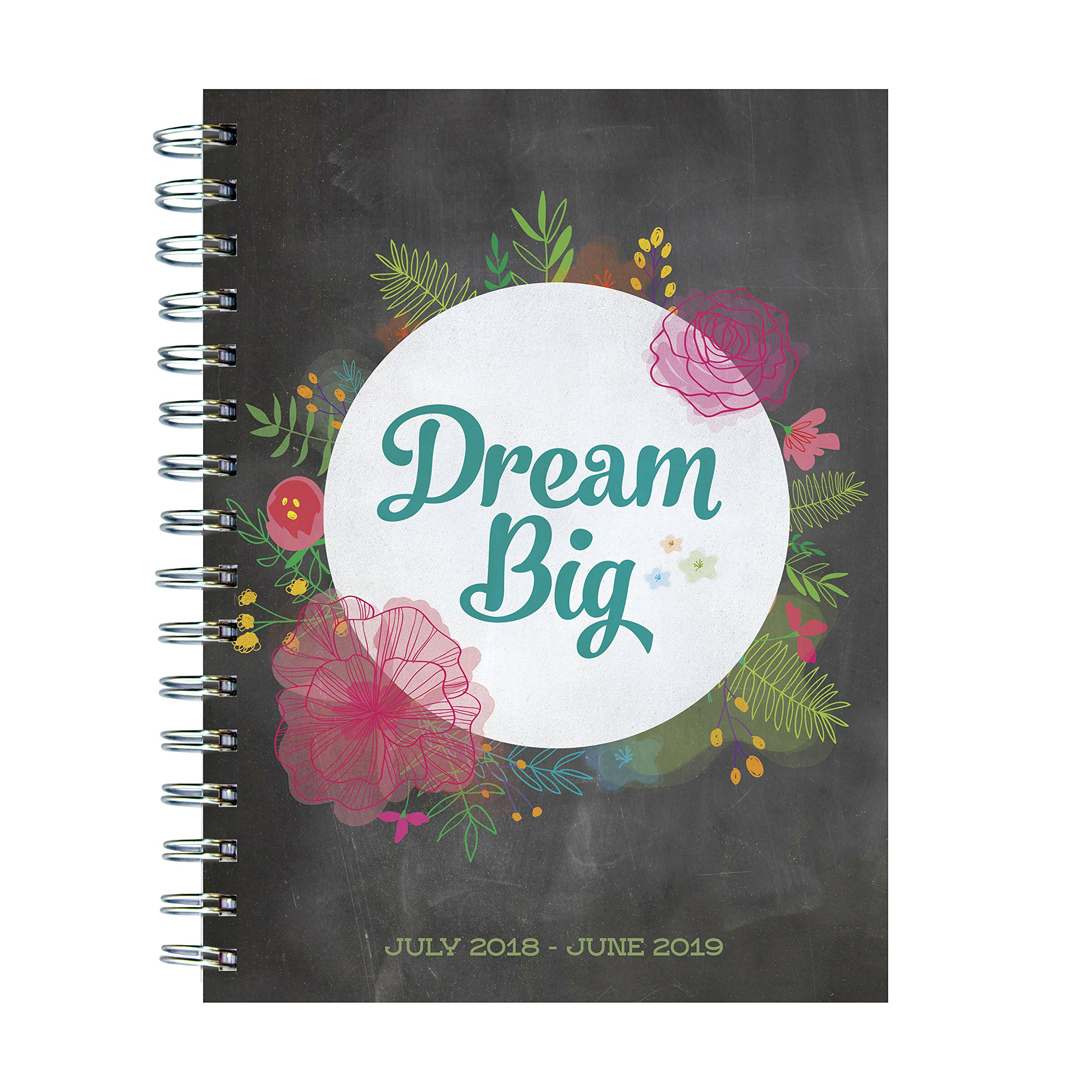 TF Publishing 19-9243A July 2018 - June 2019 Dream Big Medium Weekly Monthly Planner, 6.5 x 8'', Black & White