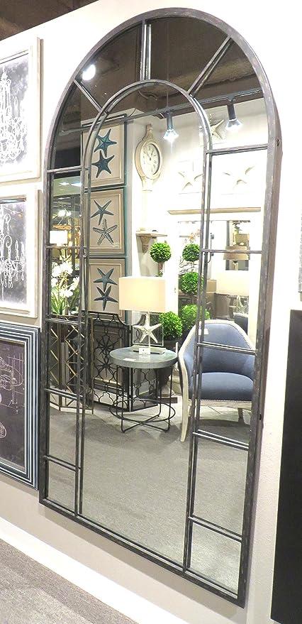 Amazon.com: Full Length Black Arch Window Pane Mirror   Wall Floor ...