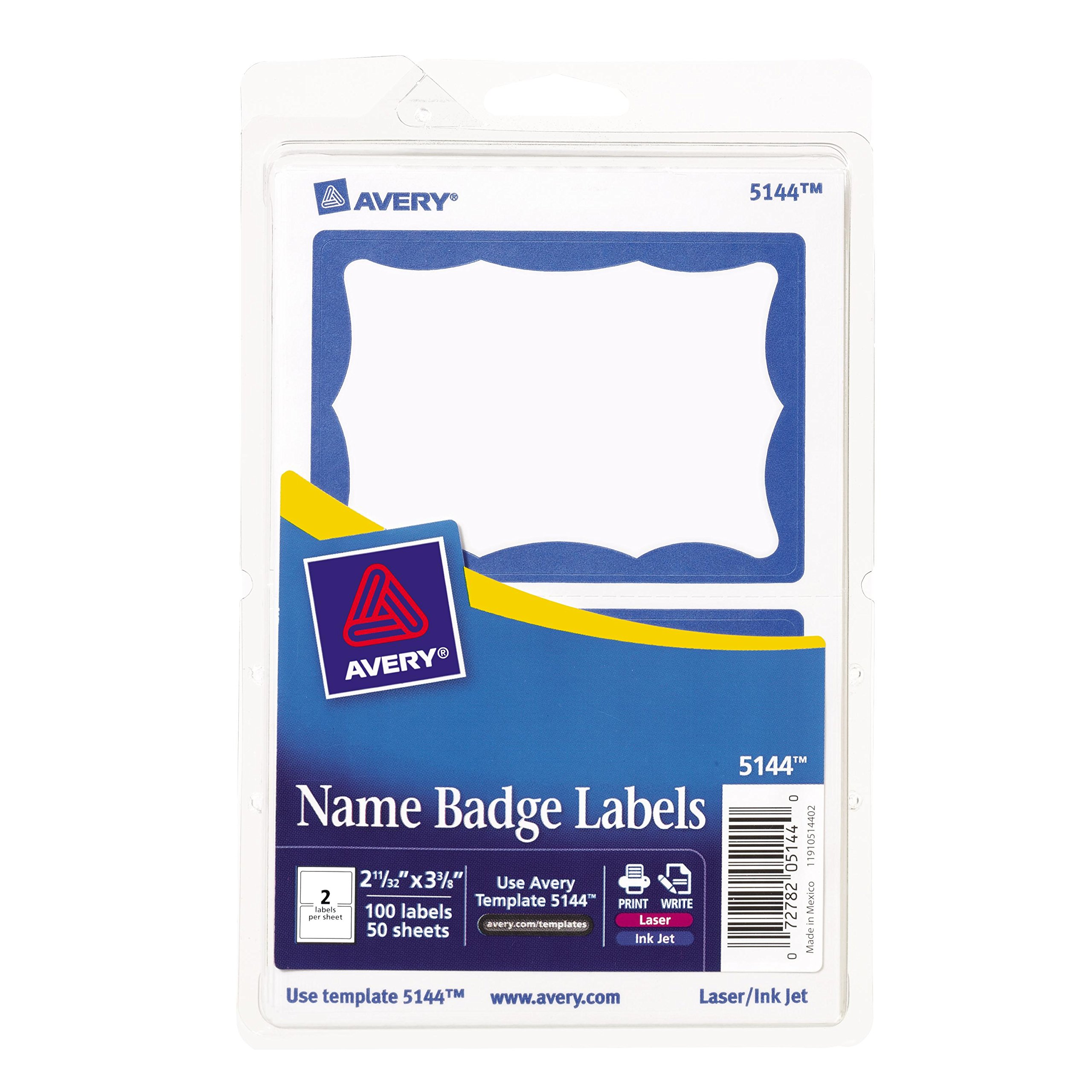 Avery Print or Write Name Badge Labels with Blue Border , 2-11/32'' x 3-3/8'', 100 Labels per Pack, Case Pack of 18 (5144)