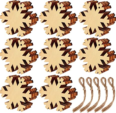40 pcs Angel Christmas Wooden Ornaments Round Wood Slices Wood Snowflake Angel Shape Slices with 40 Pieces Cords for New Year Christmas Tree Pendant Ornaments