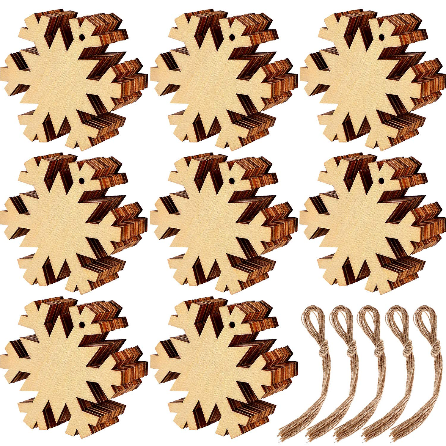 Blulu 60 Pieces Christmas Wooden Ornaments Round Wood Slices Wood Snowflake Angel Shape Slices with 60 Pieces Cords for New Year Christmas Tree Pendant Ornaments Style 2