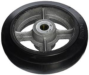 "Wesco 150596 10"" Diameter Cast Iron Center Moldon Rubber Wheel, 800-lb. Capacity, 2-1/2"" Tread Width, 1"" Bore, 2-3/4"" Hub Diameter"