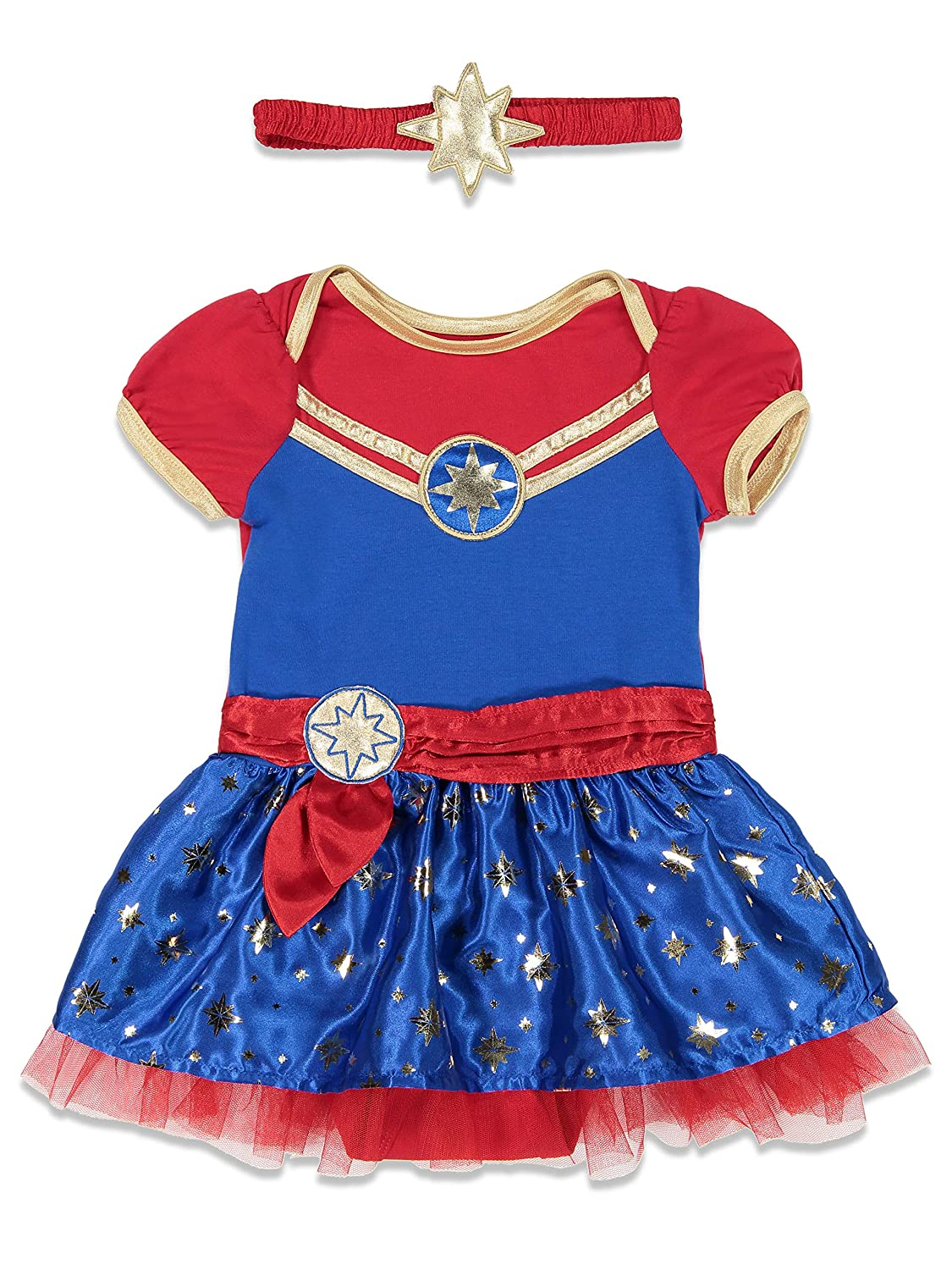 Captain Marvel Girls Costume Dress & Headband Superhero Cosplay