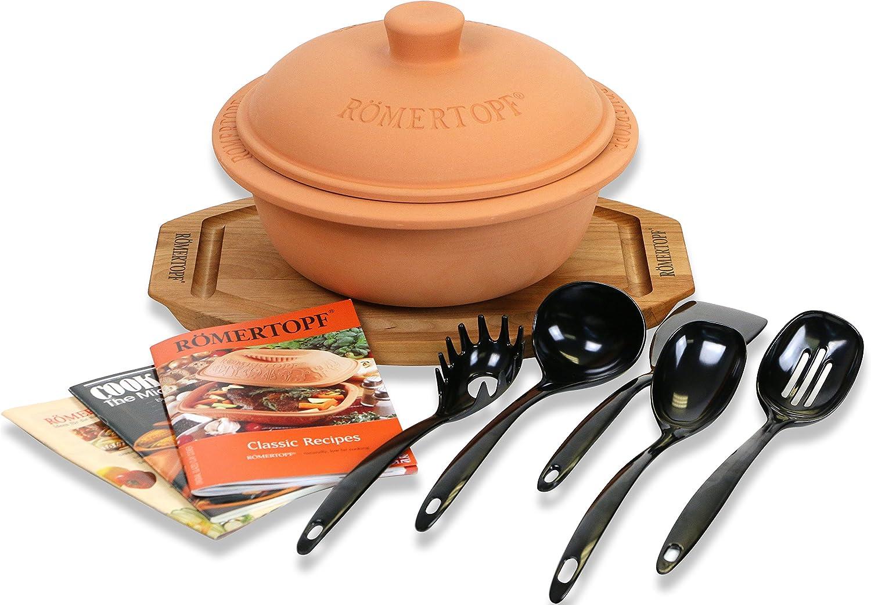 Romertopf Round Dutch Oven Glazed Clay Cooker, Cutting Board, Cookbooks, Utensil Sets