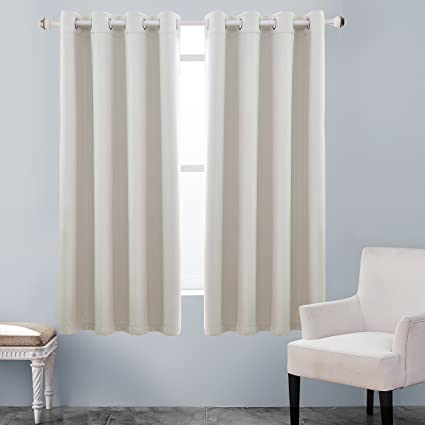 KEQIAOSUOCAI Inherent Flame Retardant Curtains 250GSM Room Darkening Thermal Insulated Grommet Blackout Curtain Panel For Bedroom