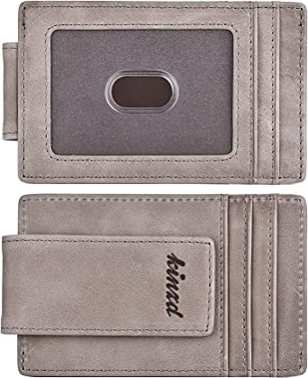 Front Pocket Wallet Leather RFID Blocking Strong Magnet thin Wallet Money Clip