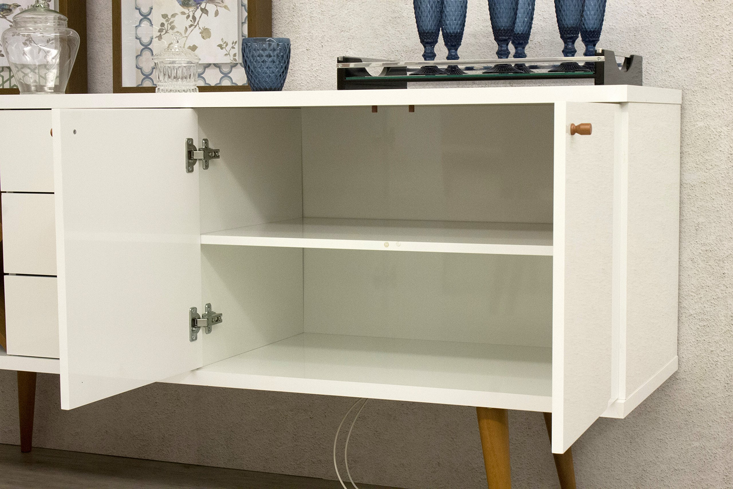 Manhattan Comfort Utopia Collection Mid Century Modern Sideboard Buffet Stand With 4 Bottle Wine Rack, Cabinet and 3 Drawers, Splayed Legs, White by Manhattan Comfort (Image #3)